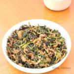 Sengeerai Poriyal   Red Amaranth Leaves Stir Fry