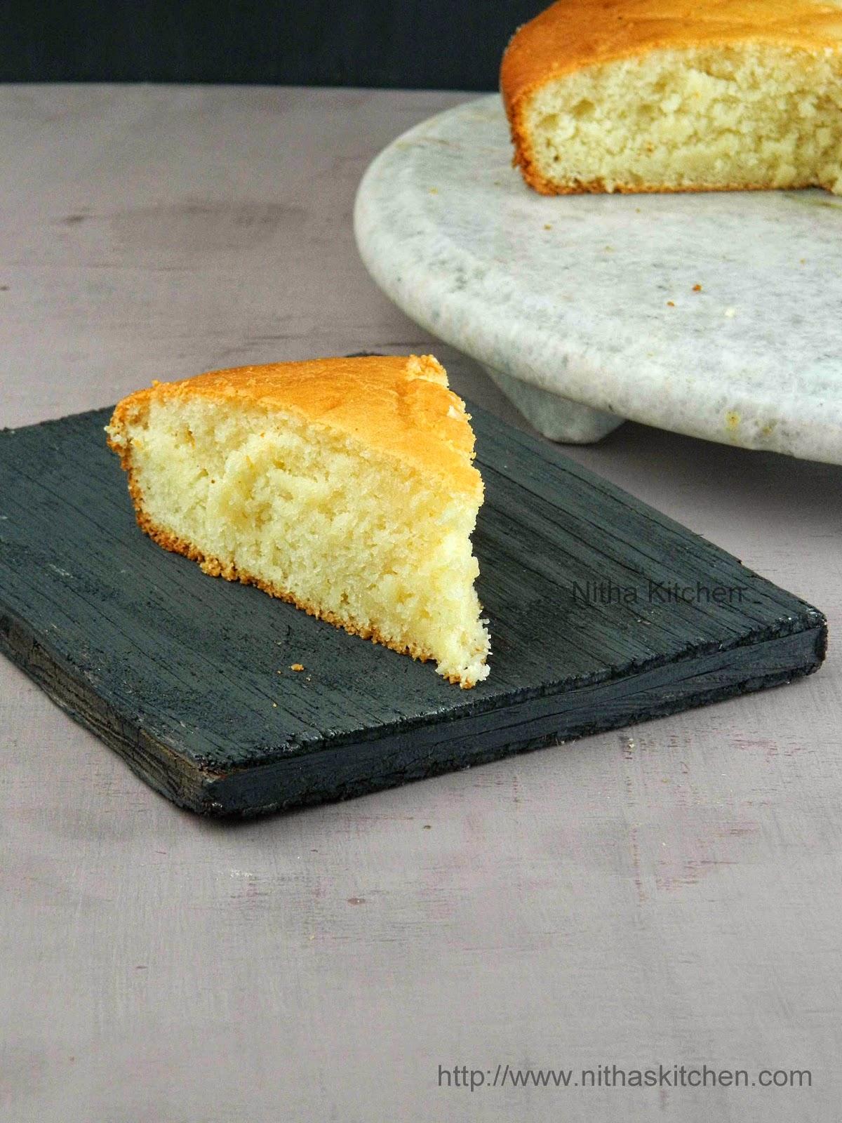 Eggless butterless vanilla sponge cake recipe nitha kitchen for Basic vanilla sponge