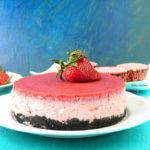 No Bake Low Fat Strawberry Cheesecake or Jello Cake Using Curd Yoghurt