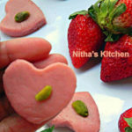 Fat Free Strawberry Palkova | Heart shaped Paalkova | South Indian Delicacy