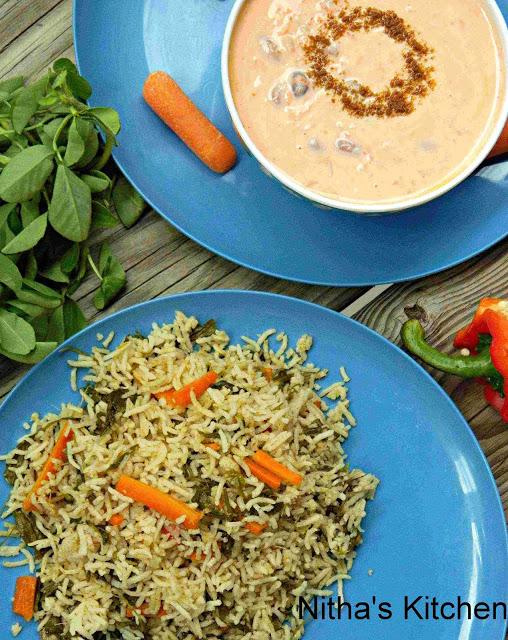 Methi Pulao Carrot Raita Recipe