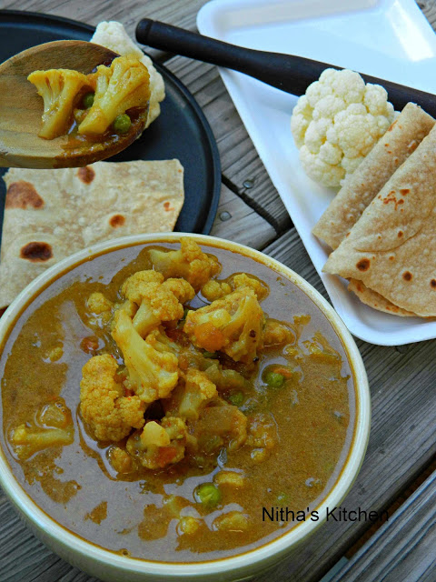 cauliflower kurma with chapati