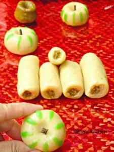 Almond Pista Rolls | Apple Shaped Almond Katli Recipe