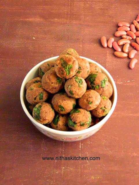 Baked Spinach Kidney Beans Fritters Veg Kofta Recipe