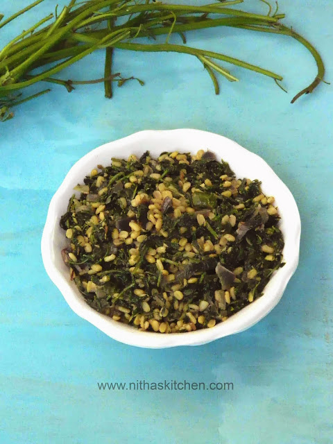 MANATHAKKALI KEERAI PARUPPU PORIYAL | WONDERBERRY LEAVES WITH MOONG DAL STIR FRY
