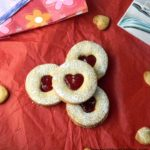 Eggless Linzer Cookies | Strawberry Jam Filled Almond Cookies | Heart Shaped Cookies Recipe