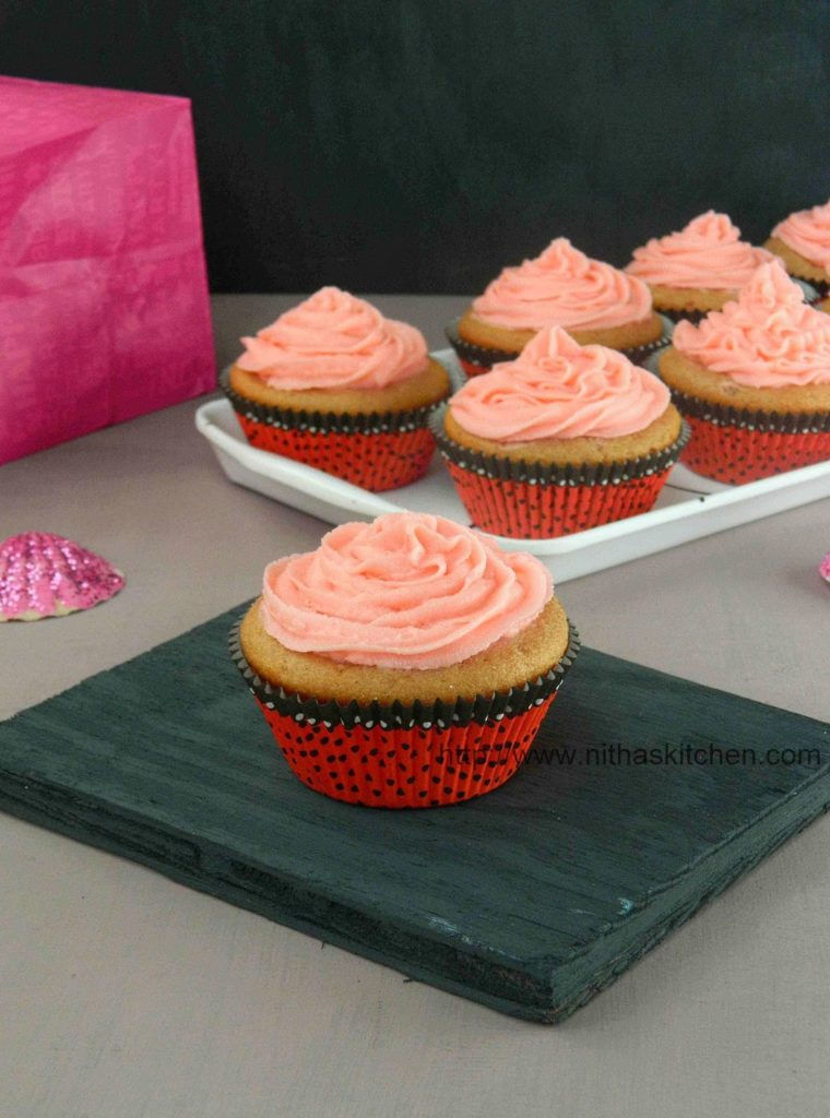 Eggless Strawberry Yogurt Cupcakes Recipe From Scratch with step by step pictures