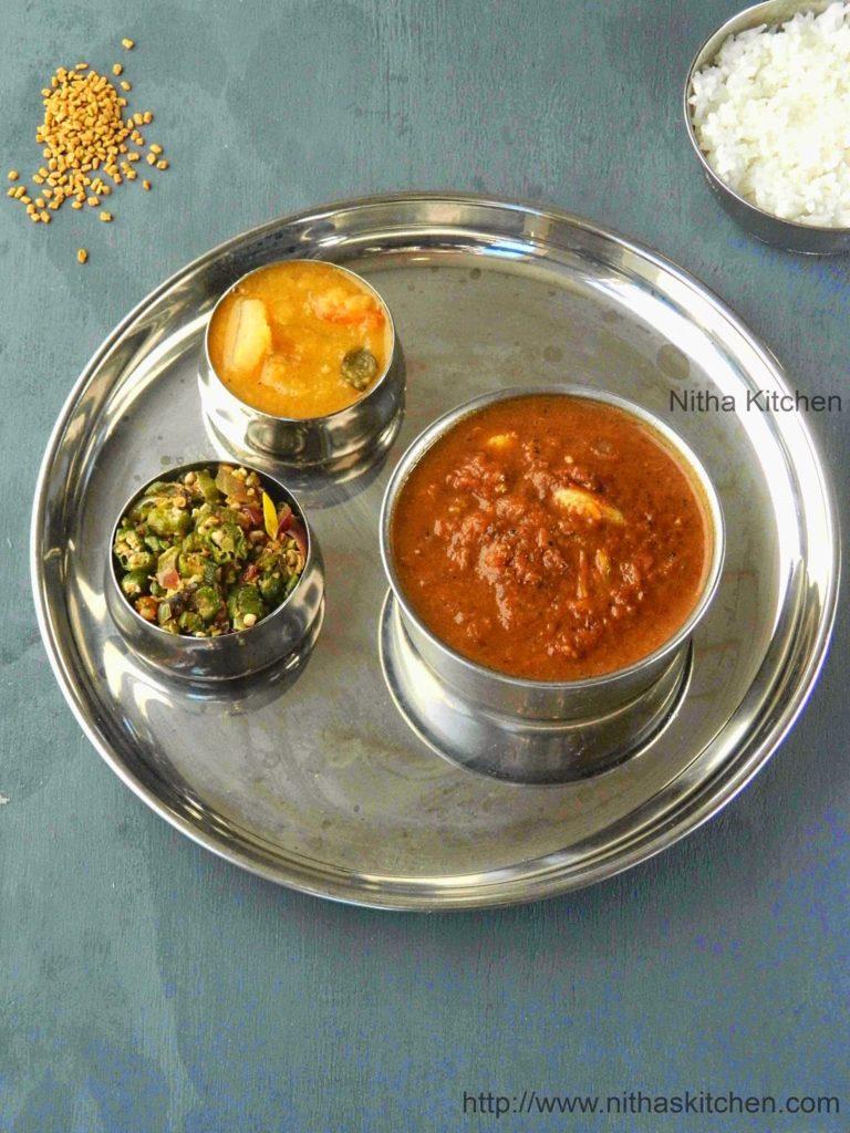 Vendhaya Puli Kuzhambu poondu kulambu recipe
