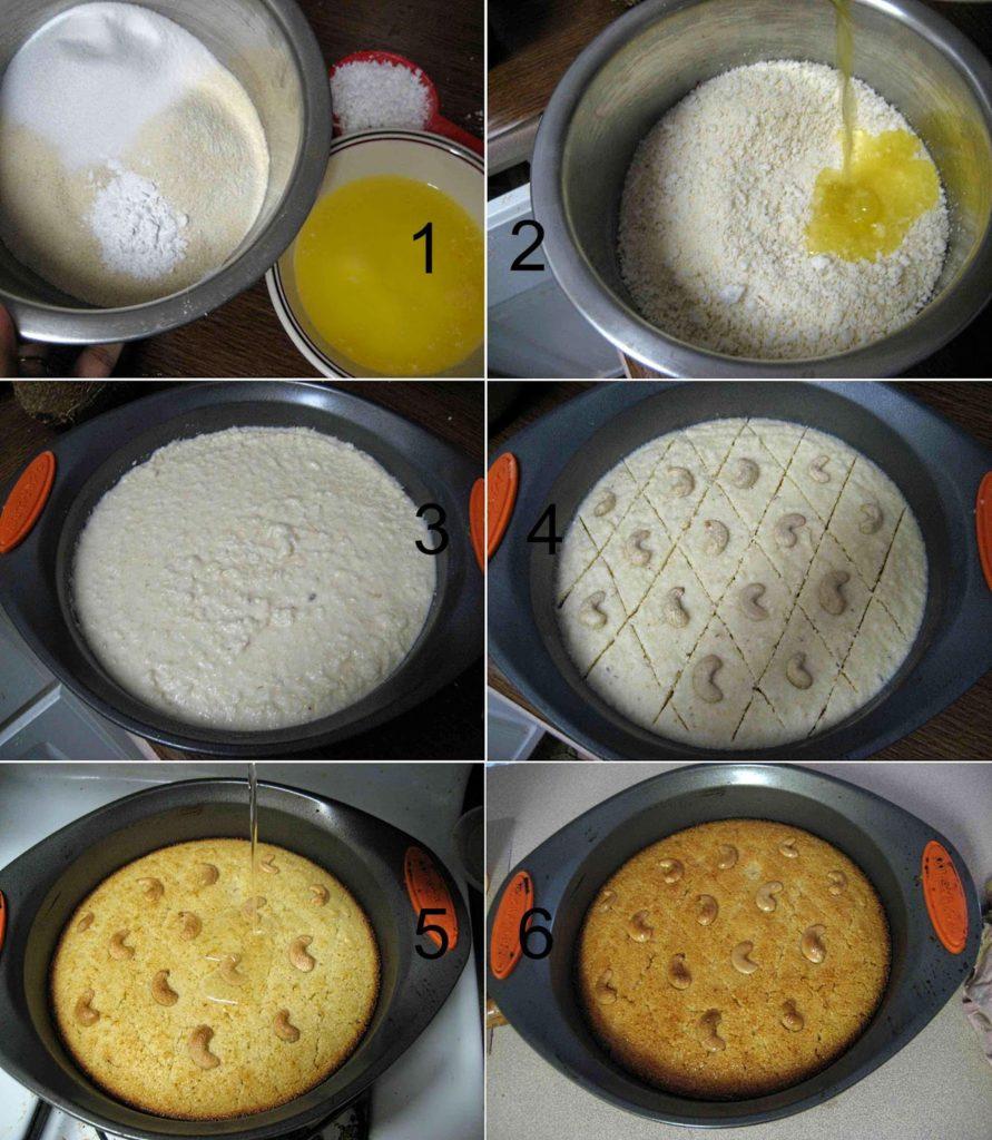 Eggless Basbousa Rava Coconut Cake Recipe