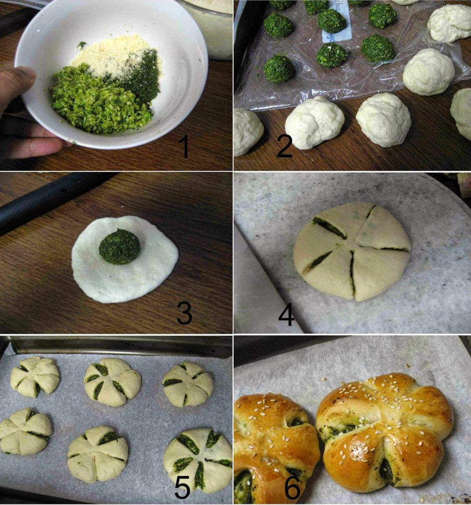 Eggless Spinach Pesto Flower Buns From Scratch Recipe