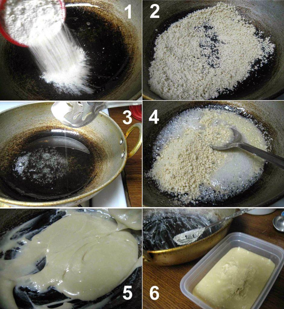 Maida Burfi with Chocolate Glaze step by step picture Recipe