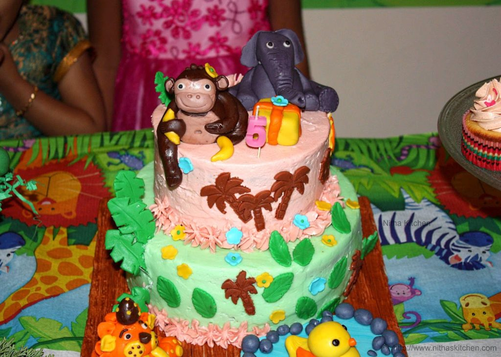 Jungle Theme 2 Tier Birthday Cake Complete Cake Tutorial For