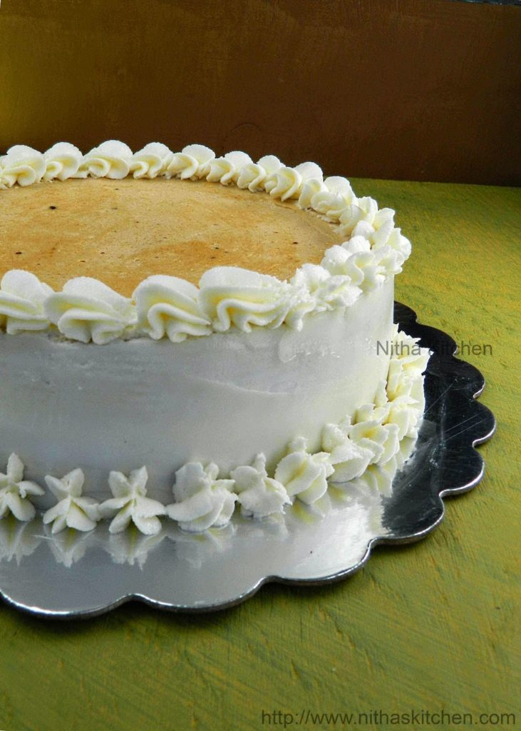 Eggless Vanilla Paneer Cake Butterscotch Butter Cream