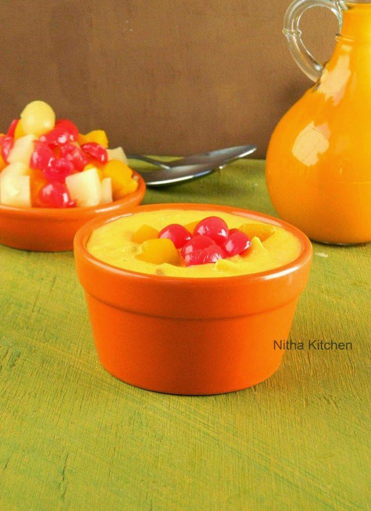 Mango fruit custard using canned fruits restaurant style