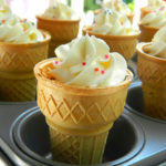 Chocolate Ice Cream Cone Cupcakes With White Chocolate Buttercream Frosting | Kids Birthday Party Recipe