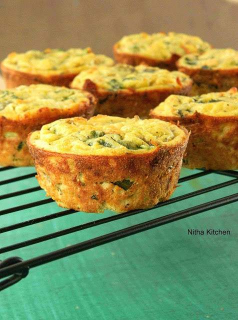 Spinach and Vegetable Quiches in Muffin Pan