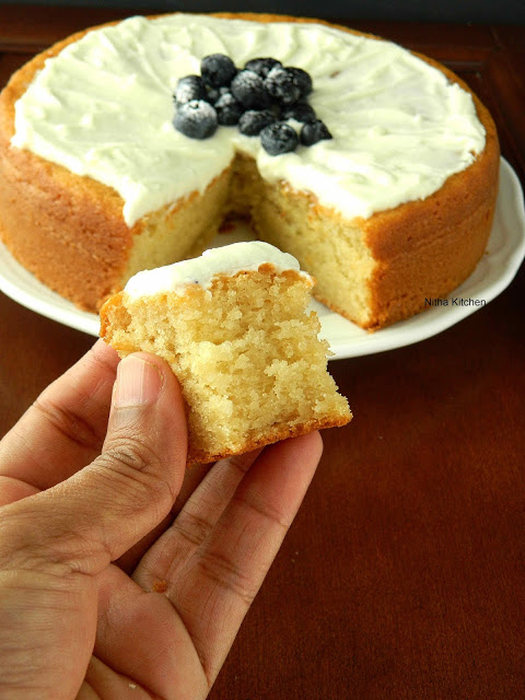 Eggless Almond Sponge Cake Recipe From Scratch