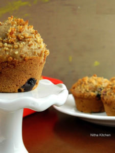 Whole Wheat Walnut Blueberry Muffins From Scratch