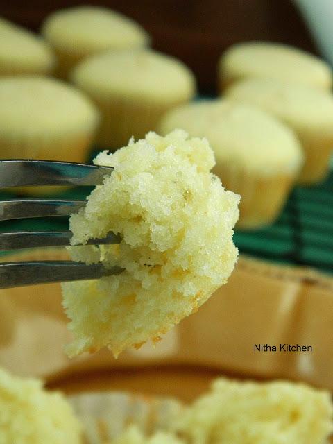 Eggless Moist Coconut Cardamom Cupcakes Recipe