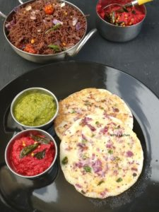 Kambu uthappam Othappam with coriander and Beetroot Chutney
