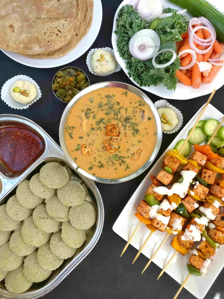 Indian style vegetarian lunch spread