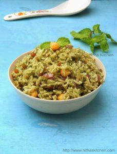 Pudina Sadham | Mint Rice | Lunch Box Recipe