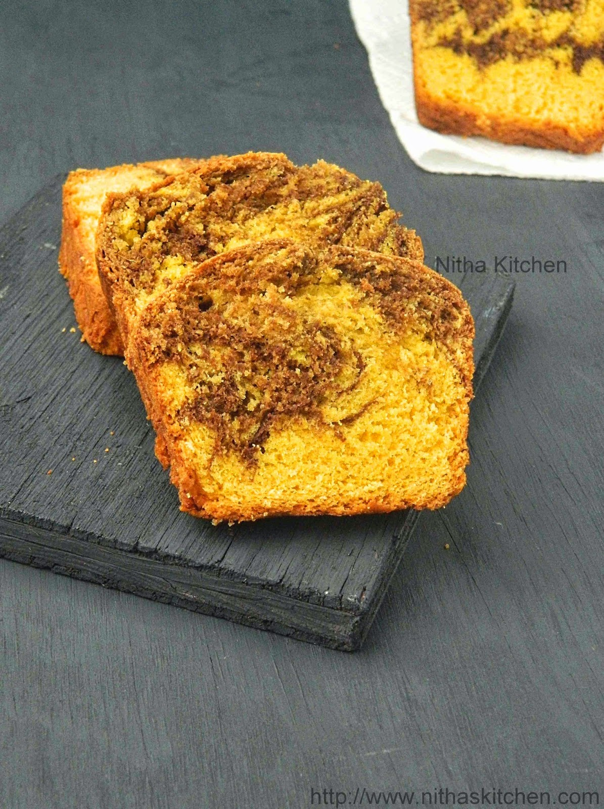 Eggless Mango Chocolate Loaf Cake | Mango Marble Cake Recipe