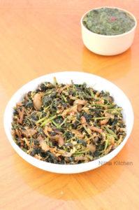 Sengeerai Poriyal | Red Amaranth Leaves Stir Fry