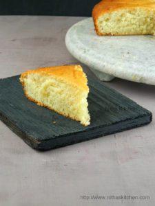 Eggless Butterless Vanilla Sponge Cake Recipe