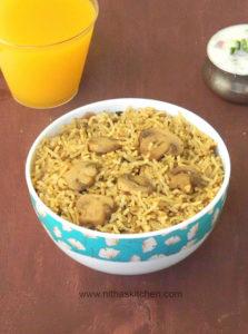 No Onion/Ginger/Garlic Mushroom Biryani with Homemade Masala Powder