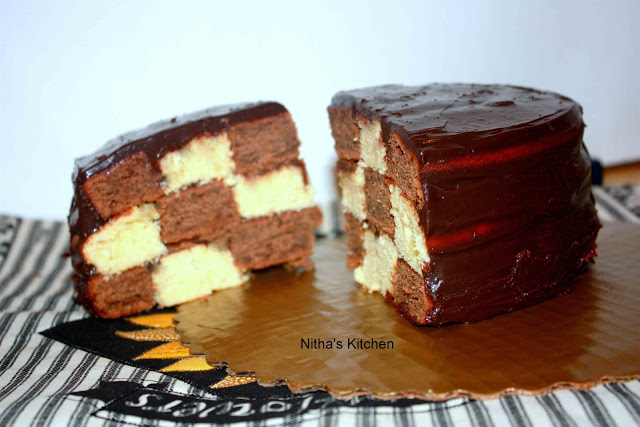 Checker Board Cake with Chocolate and Yellow Cakes