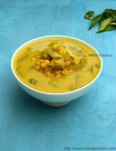Podalangai Thengai Paal Kootu   Restaurant Style Chana Dhal Snake Gourd Kootu