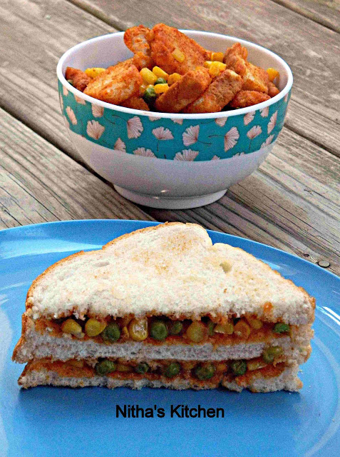 Easy Peas Sandwich Spread | Bread Peas Upma | Zero Oil Stir Fry