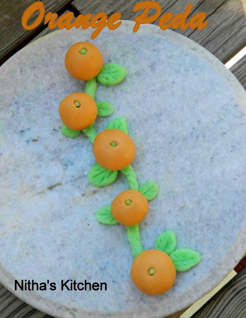 Orange Peda   Mithai   Homemade Condensed Milk   Celebration Time :-)