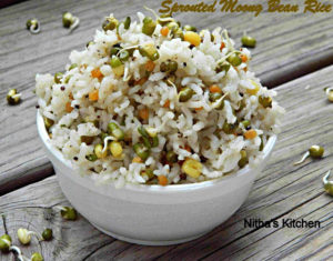 Raw Moong Bean Sprouts Pepper Rice | Sprouted Raw Mung Bean Rice