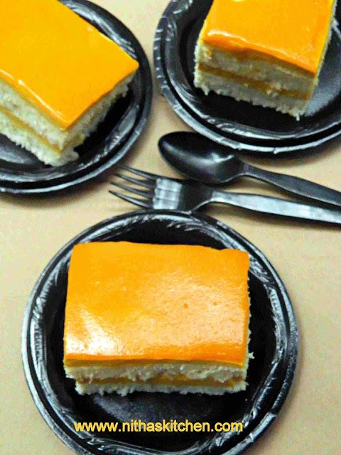 Double Layered Eggless Mango Mousse Cake with Mango Glaze