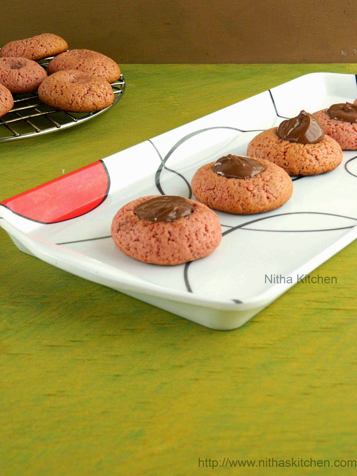 Egg less Strawberry Nutella Thumbprint Cookies Recipe