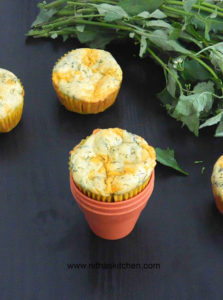 Spinach Cheddar Cheese Oats Muffins   Egg Free Recipe