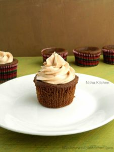 Eggless Chocolate Coffee Cup Cakes   Coffee Flavored Ghostly (Or) Mummy Cupcakes    Egg Free Recipe