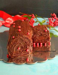 Yule Log Cake | Bûche de Noël (French) | Traditional Christmas Special Cake Recipe