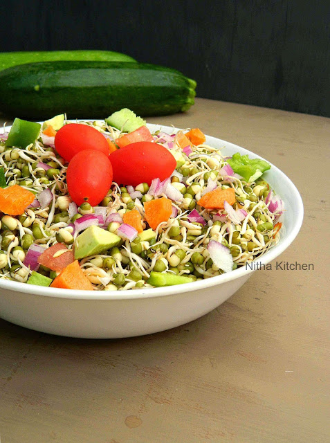 Sprouted Mung Bean Vegetable Salad | Diet Friendly Raw Moong Beans Salad