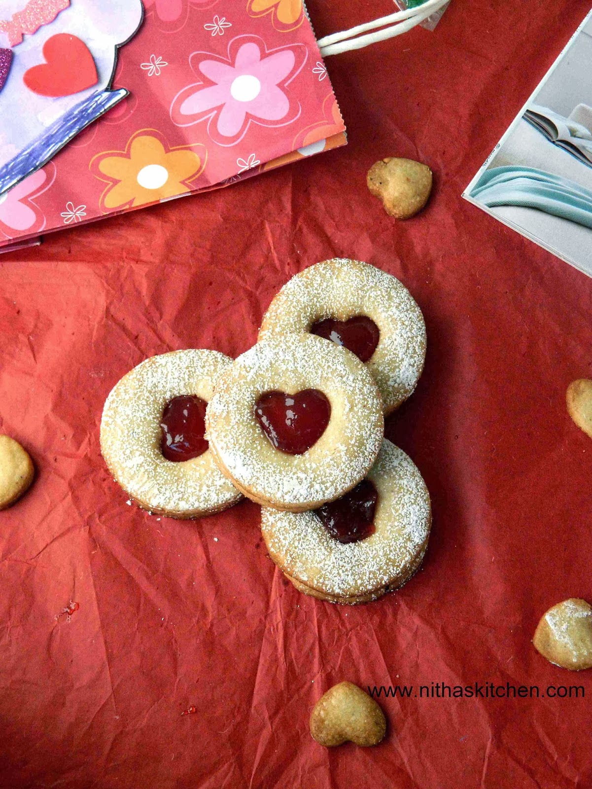 Eggless Linzer Cookies with Strawberry Jam Filling | Heart Shaped Almond Cookies Recipe
