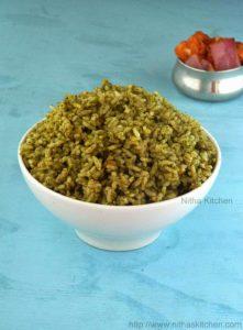 Spinach Rice | Healthy One Pot Meal for Kids Palak Rice | Keerai Soru | Sadham Recipe
