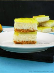Eggless Double Lemon Cheesecake Bars | Egg Free Lemon Cheesecake Squares with Lemon Glaze