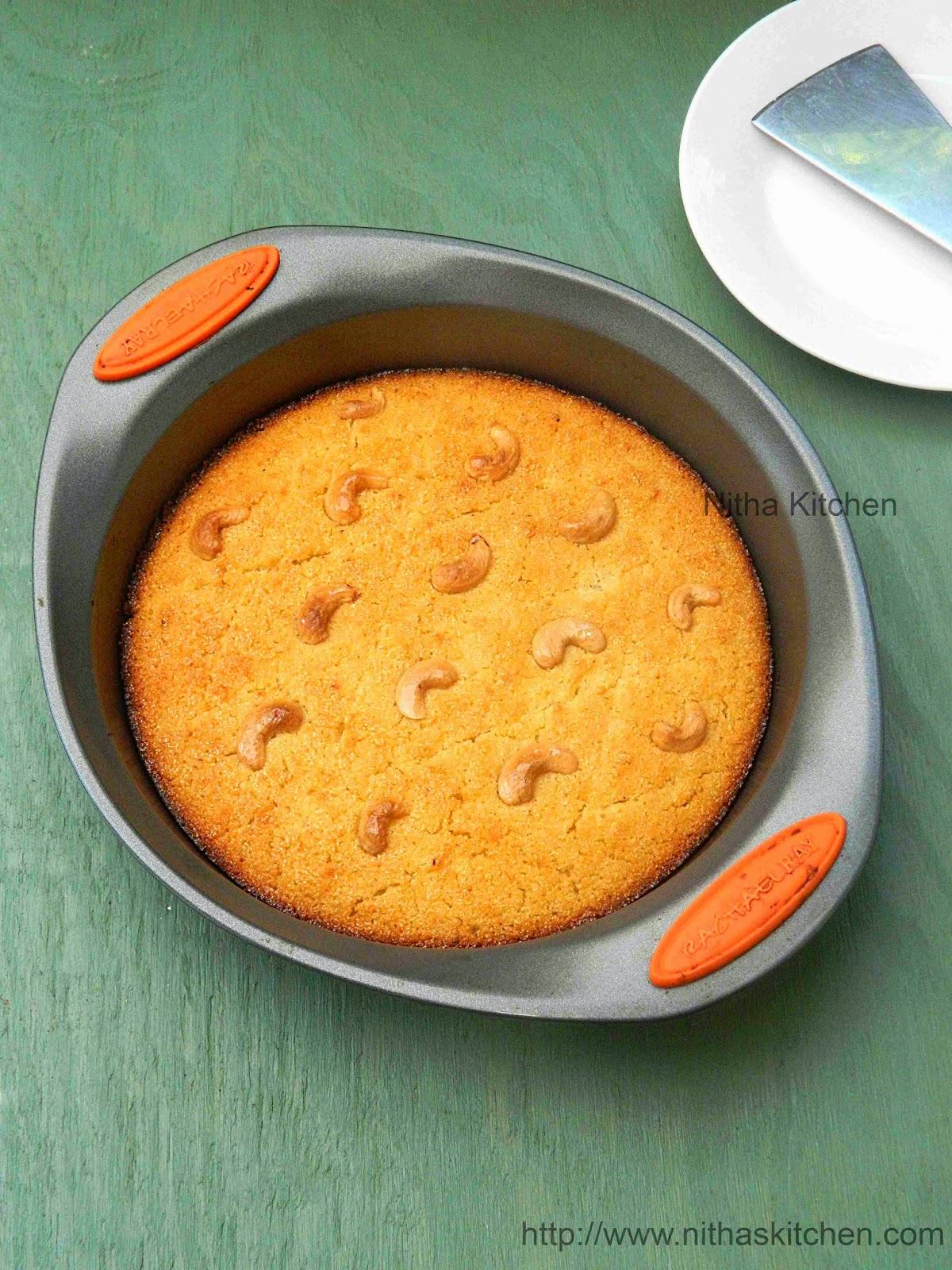 Eggless Basbousa | Semolina Yogurt Cake | Rava Coconut Cake Recipe