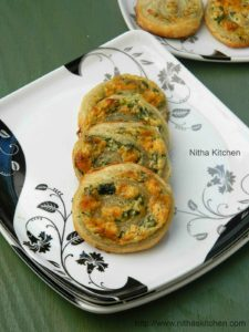 Spinach Cheese Swirls Using Homemade Puff Pastry | Savory Pastry Pin Wheels