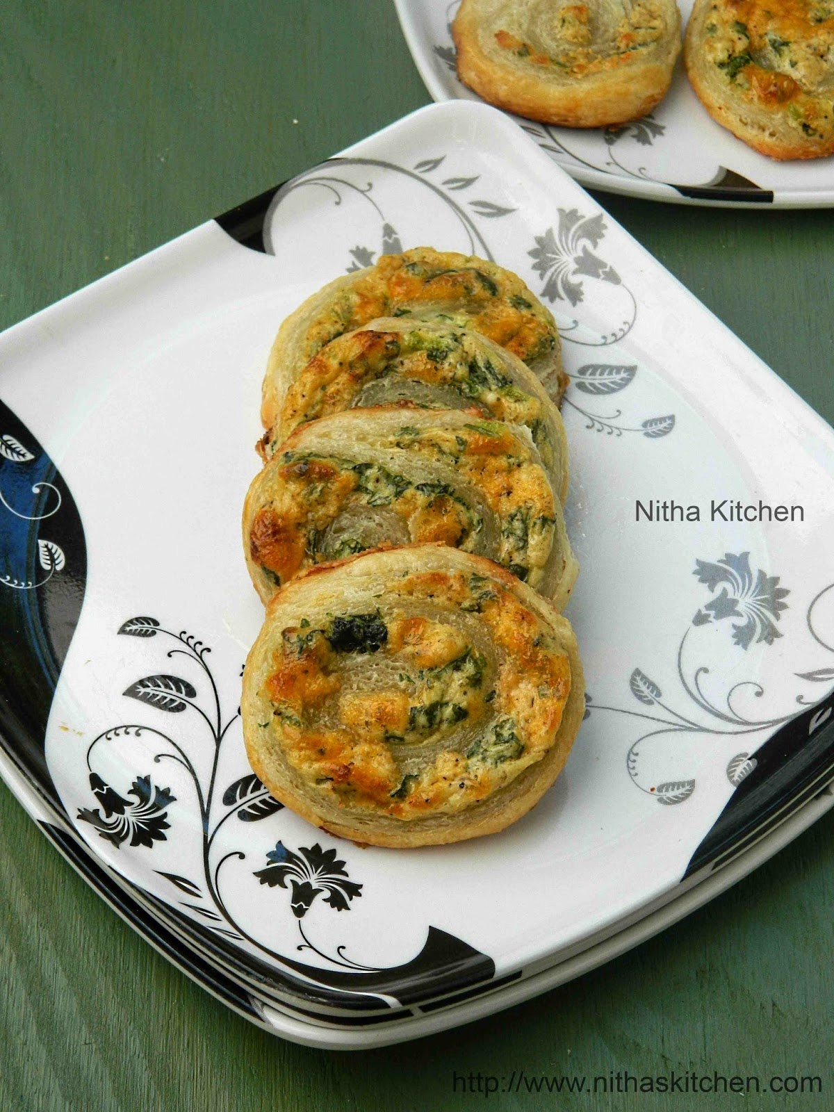 Spinach Cheese Pinwheels Swirls Using Homemade Puff Pastry Recipe