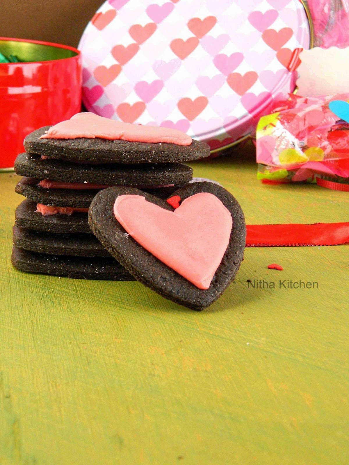 Egg Free Valentines Chocolate Sugar Cookies with Royal Icing | Heart Shaped Sugar Cookies Recipe