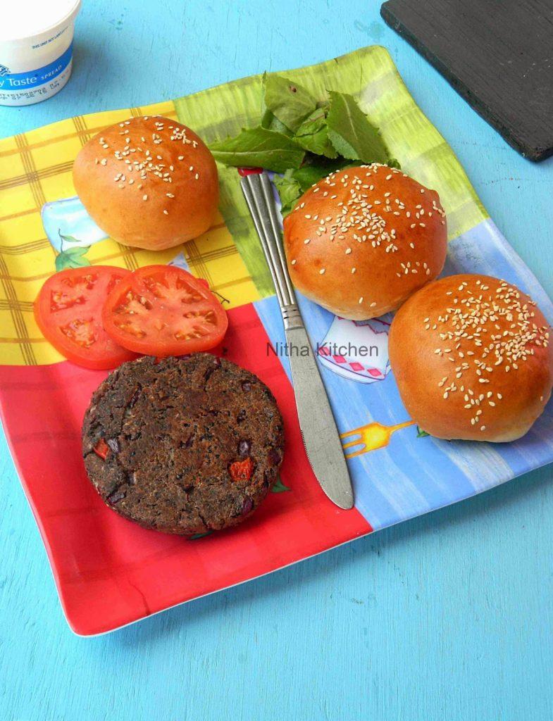 Veg Burger Buns Black Bean Patties | Soft Dinner Rolls | Ladi Pav Buns From Scratch