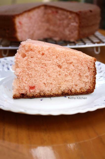 Rose Flavored Butter Cake Recipe in Pressure Cooker
